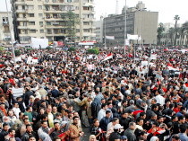 Egyptians protest against deposed President Hosni Mubarak in Cairo's Tahrir Square.