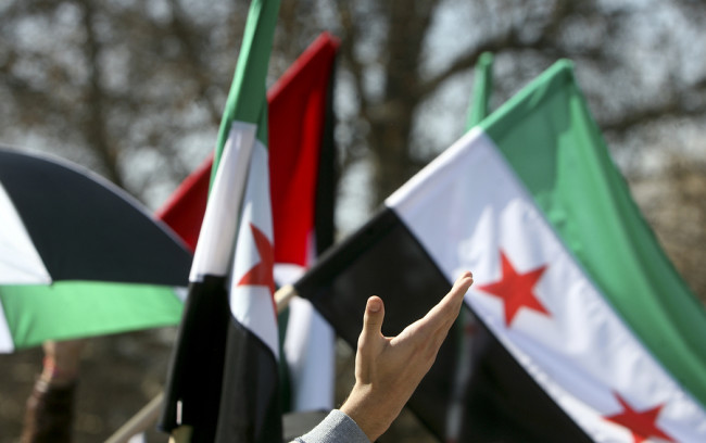 Waving Hand In Fort Syrian Flags
