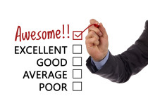 Tick placed in awesome checkbox on customer service satisfaction
