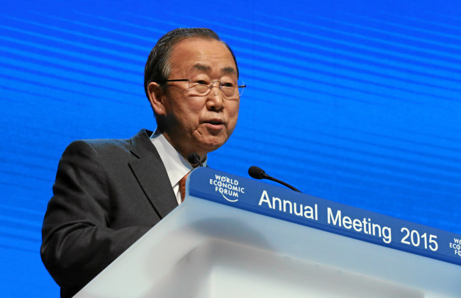 Ban Ki-moon, Secretary-General of the United Nations, speaks  at the Annual Meeting 2015 of the World Economic Forum at the Congress Center in Davos on January 23. Photo: Monika Flueckiger