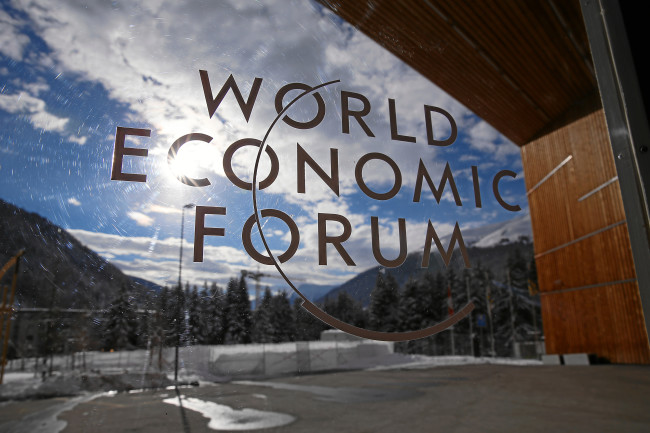 Logo of the Annual Meeting 2015 of the World Economic Forum at the Congress Center in Davos. Photo: Jolanda Flubacher