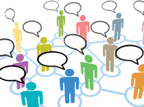 A group of diverse people talk in social media speech communicat