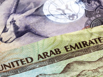 United Arab Emirates dirham banknotes in closeup.