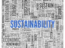 Close up Blue SUSTAINABILITY Text at the Center of Word Tag Clou