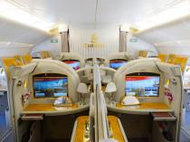 BANGKOK, THAILAND - MARCH 31, 2015: Emirates Airbus A380 interio