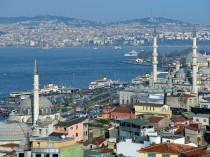 ISTANBUL, TURKEY - MARCH 23, 2014: Aerial view to Bosporus strai