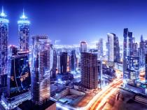 Dubai downtown night scene, UAE, beautiful modern buildings, bri