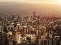 Aerial view of beautiful cityscape on sunset, arabic architectur