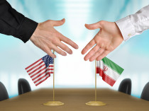 United States and Iran diplomats agreeing on a deal