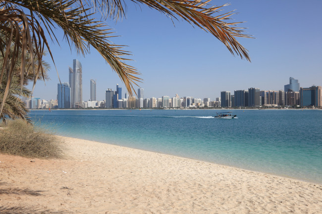 Beach And The Skyline Of Abu Dhabi