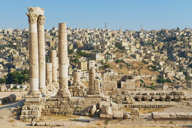 View to the ancient stone columns at the Citadel of Amman, Jorda