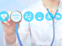 Medical doctor working with healthcare icons. Modern medical tec