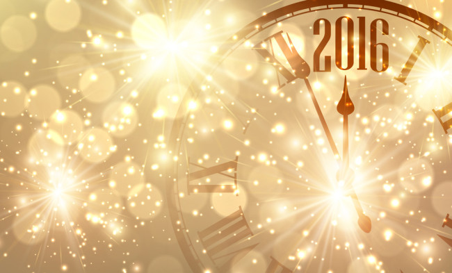 2016 New Year shining background with clock. Vector illustration
