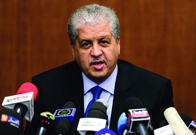 Algeria's Prime Minister Abdelmalek Sellal speaks during press conference after  the African Conference on Green Economy in Oran