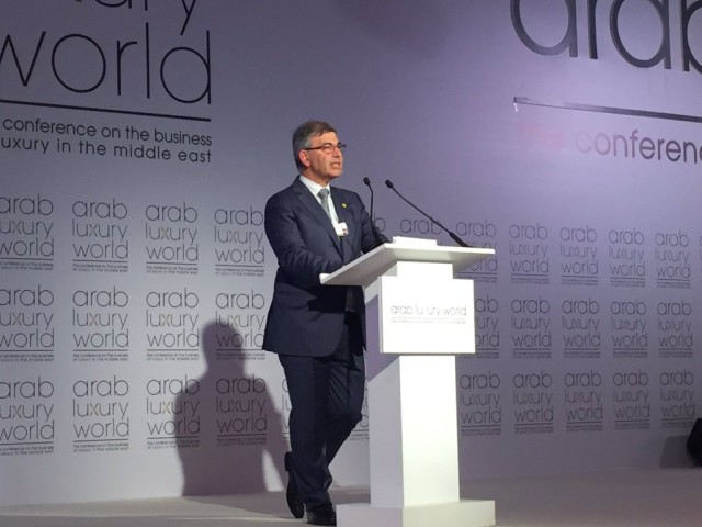 Patrick Chalhoub, co-CEO of Chalhoub Group, delivering the keynote speech at arab luxury world 2016.